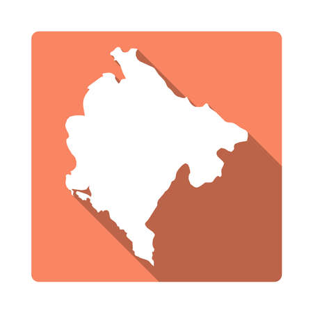 Vector Montenegro Map Button. Long Shadow Style Montenegro Map Square Icon Isolated on White Background. Flat Orange Country Badge.