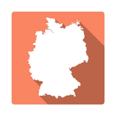 Vector Germany Map Button. Long Shadow Style Germany Map Square Icon Isolated on White Background. Flat Orange Country Badge.