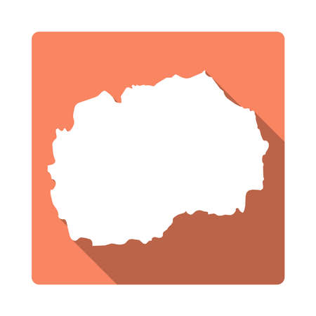 Vector Macedonia, the Former Yugoslav Republic Of Map Button. Long Shadow Style Macedonia, the Former Yugoslav Republic Of Map Square Icon Isolated on White Background. Flat Orange Country Badge. Illustration