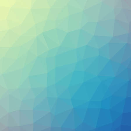 Low poly pattern design. Large cells. Vector polygonal background filled with yellow to green to blue gradient. Geometric style poster backdrop.