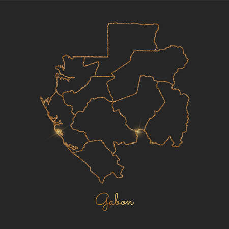 Gabon region map: golden glitter outline with sparkling stars on dark background. Detailed map of Gabon regions. Vector illustration.