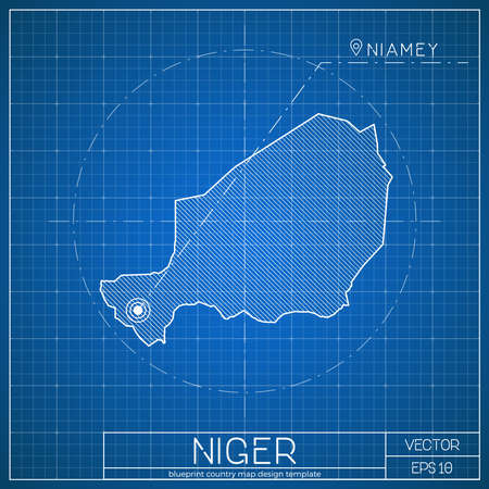 Niger blueprint map template with capital city. Niamey marked on blueprint Nigerian map. Vector illustration.