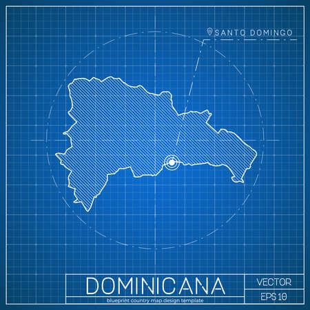 Dominicana blueprint map template with capital city. Santo Domingo marked on blueprint Dominican map. Vector illustration. Ilustração