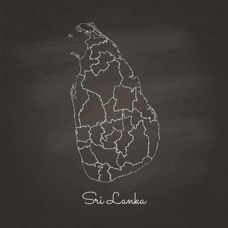 Sri Lanka region map: hand drawn with white chalk on school blackboard texture. Detailed map of Sri Lanka regions. Vector illustration.