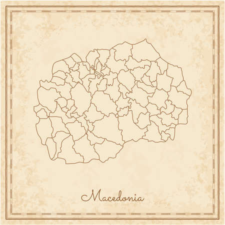 Macedonia region map: stilyzed old pirate parchment imitation. Detailed map of Macedonia regions. Vector illustration.