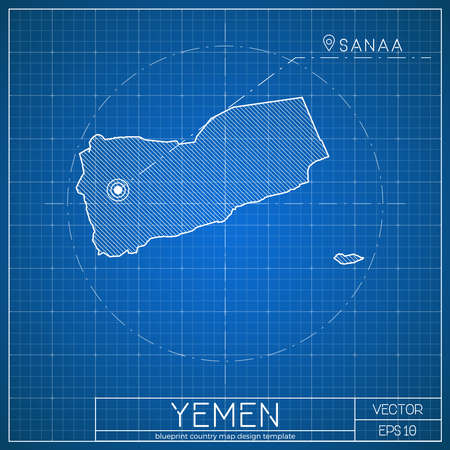 yemen blueprint map template with capital city sanaa marked