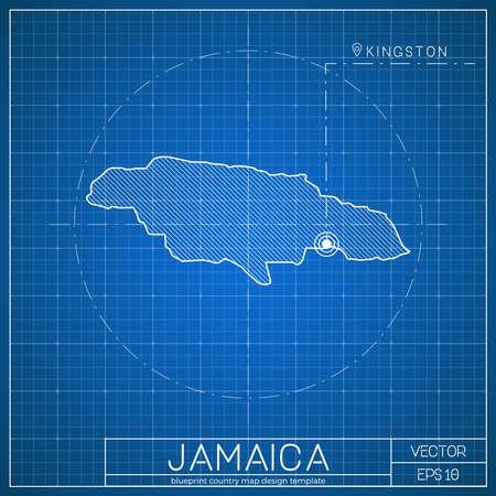Jamaica blueprint map template with capital city. Kingston marked on blueprint Jamaican map. Vector illustration.