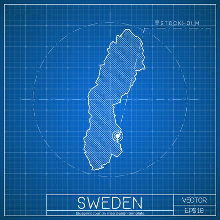 Sweden blueprint map template with capital city. Stockholm marked on blueprint Swedish map. Vector illustration.