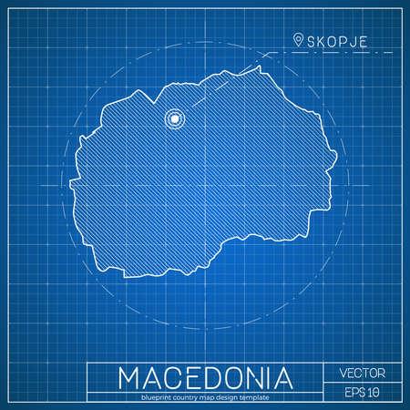 Macedonia blueprint map template with capital city. Skopje marked on blueprint Macedonian map. Illustration