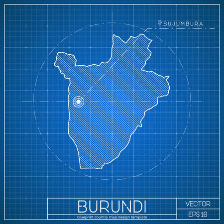 Burundi blueprint map template with capital city. Bujumbura marked on blueprint Burundian map.