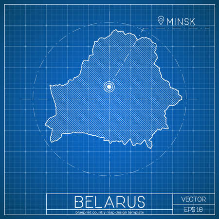 Belarus blueprint map template with capital city. Minsk marked on blueprint Belarusian map. Vector illustration.
