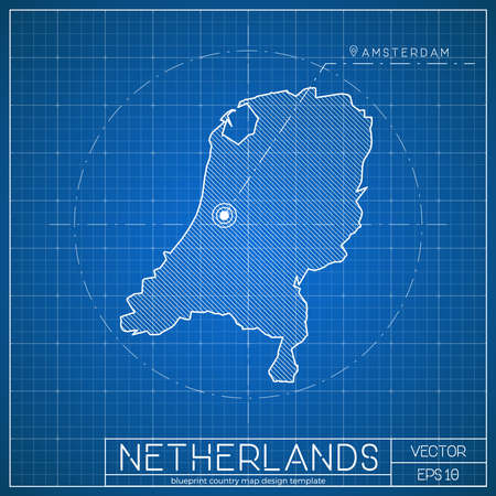 Netherlands blueprint map template with capital city. Amsterdam marked on blueprint Dutch map. Vector illustration. Ilustração