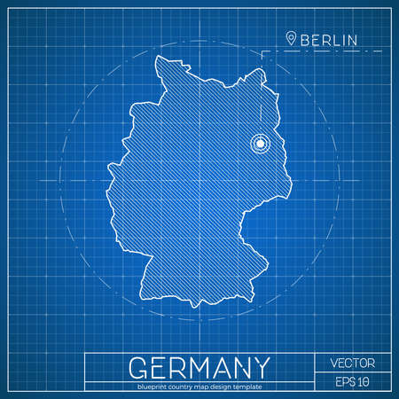 Germany blueprint map template with capital city. Berlin marked on blueprint German map. Vector illustration.