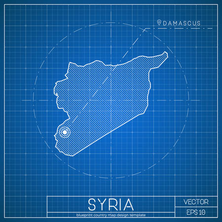 Syria blueprint map template with capital city.