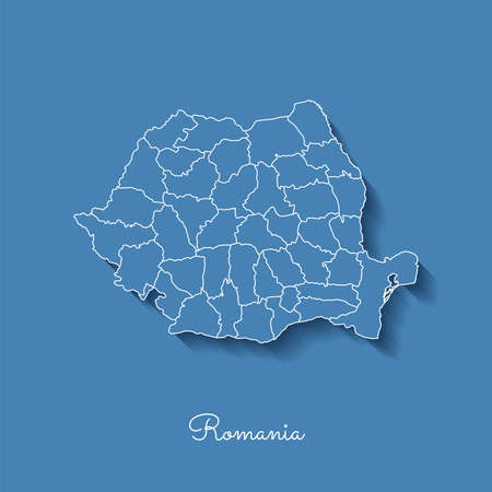 Romania region map: blue with white outline and shadow on blue background. Detailed map of Romania regions. Vector illustration.