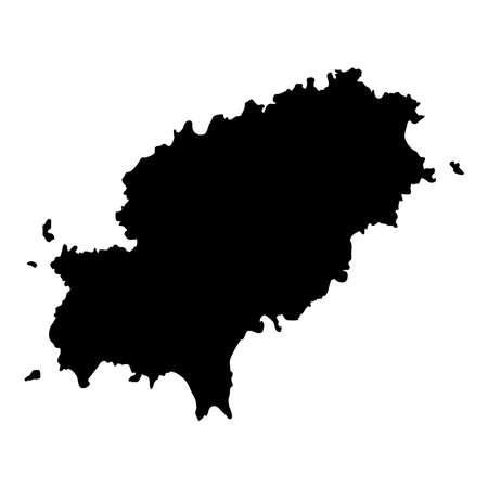 Ibiza map. Island silhouette icon. Isolated Ibiza black map outline. Vector illustration.