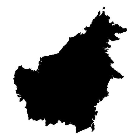 Borneo map. Island silhouette icon. Isolated Borneo black map outline. Vector illustration.