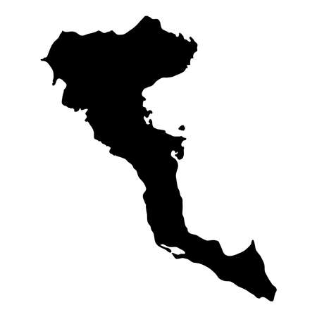 Corfu map. Island silhouette icon. Isolated Corfu black map outline. Vector illustration.