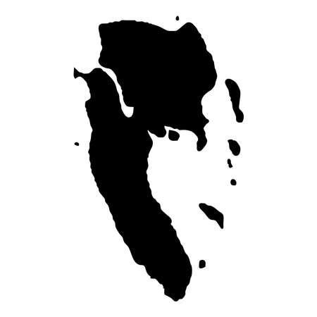 Mapa wyspy Koh Lanta. Ikona sylwetka wyspy. Na białym tle zarys czarnej mapy Ko Lanta. Ilustracja wektorowa.