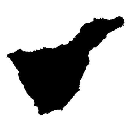 Tenerife map. Island silhouette icon. Isolated Tenerife black map outline. Vector illustration. Illustration