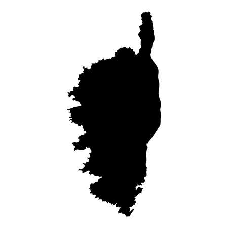 Corsica map. Island silhouette icon. Isolated Corsica black map outline. Vector illustration. Çizim