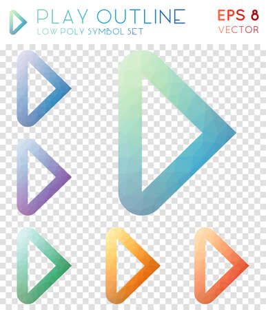 Play outline geometric polygonal icons. Beautiful mosaic style symbol collection. Dazzling low poly style. Modern design. Play outline icons set for info-graphics or presentation.