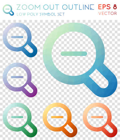 Zoom out outline geometric polygonal icons. Captivating mosaic style symbol collection. Attractive low poly style. Modern design. Zoom out outline icons set for info-graphics or presentation.