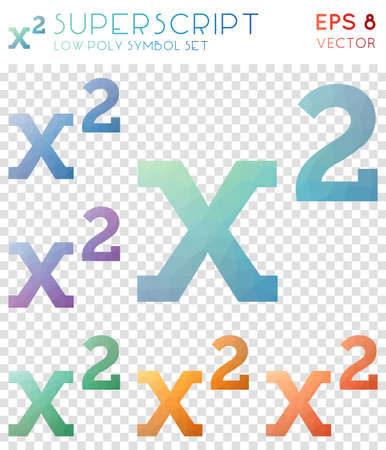 Superscript geometric polygonal icons. Bold mosaic style symbol collection. Authentic low poly style. Modern design. Superscript icons set for info-graphics or presentation.