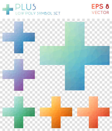 Plus geometric polygonal icons. Beautiful mosaic style symbol collection. Elegant low poly style. Modern design. Plus icons set for info-graphics or presentation.