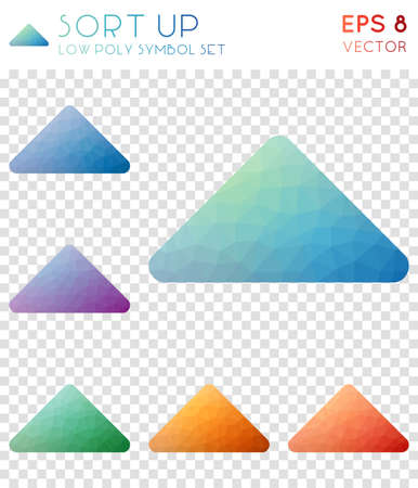 Sort up geometric polygonal icons. Bizarre mosaic style symbol collection. Fantastic low poly style. Modern design. Sort up icons set for info-graphics or presentation.
