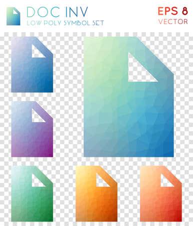 Doc inv geometrische polygonale Symbole. Amüsante Mosaikart-Symbolsammlung. Wertvoller Low-Poly-Stil. Modernes Design. Doc Inv-Symbole für Infografiken oder Präsentationen.