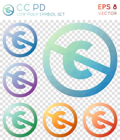 Cc pd geometric polygonal icons. Amazing mosaic style symbol collection. Beautiful low poly style. Modern design. Cc pd icons set for infographics or presentation.