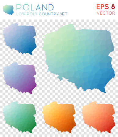 Poland geometric polygonal maps, mosaic style country collection. Alluring low poly style, modern design. Poland polygonal maps for infographics or presentation. Illustration