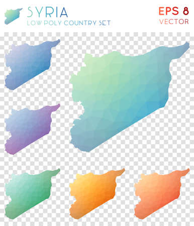 Syria geometric polygonal maps, mosaic style country collection. Decent low poly style, modern design. Syria polygonal maps for infographics or presentation. Ilustração