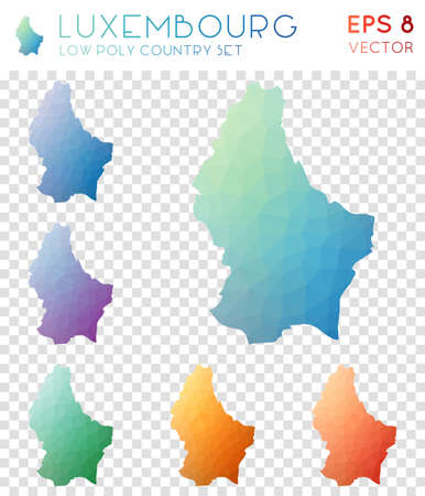 Luxembourg geometric polygonal maps, mosaic style country collection. Quaint low poly style, modern design. Luxembourg polygonal maps for infographics or presentation.