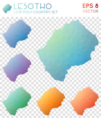 Lesotho geometric polygonal maps, mosaic style country collection. Precious low poly style, modern design. Lesotho polygonal maps for infographics or presentation.