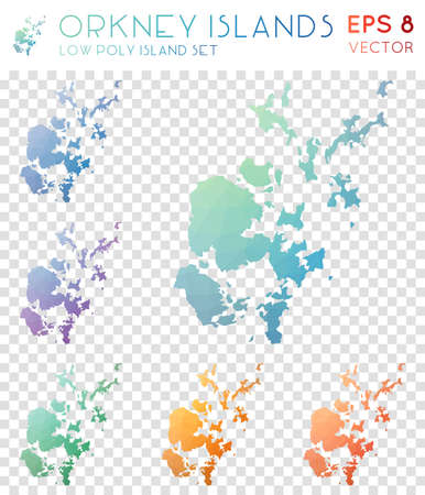 Orkney Islands geometric polygonal maps, mosaic style island collection. Exquisite low poly style, modern design. Orkney Islands polygonal maps for infographics or presentation.