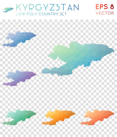 Kyrgyzstan geometric polygonal maps, mosaic style country collection. Original low poly style, modern design. Kyrgyzstan polygonal maps for infographics or presentation.