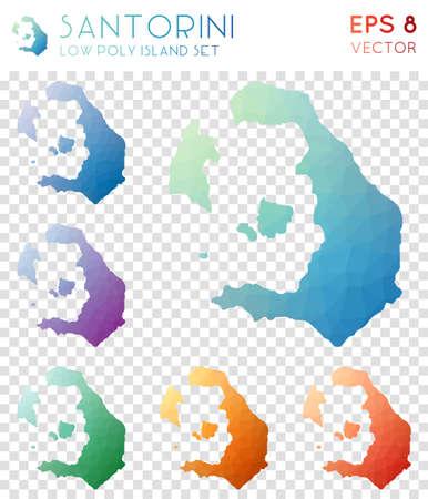 Santorini geometric polygonal maps, mosaic style island collection. Majestic low poly style, modern design. Santorini polygonal maps for infographics or presentation.