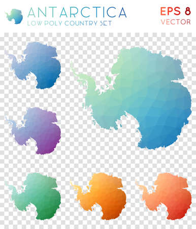Antarctica geometric polygonal maps, mosaic style country collection. Appealing low poly style, modern design. Antarctica polygonal maps for infographics or presentation. Illustration