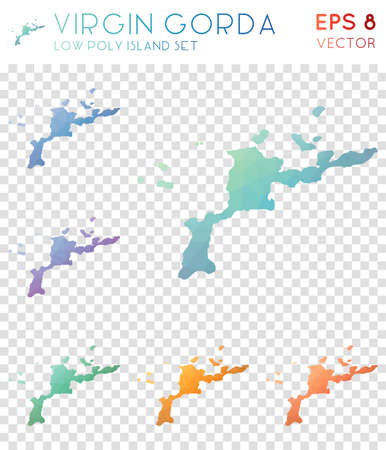 Virgin Gorda geometric polygonal maps, mosaic style island collection. Quaint low poly style, modern design. Virgin Gorda polygonal maps for infographics or presentation. Illustration