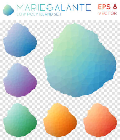 Marie-Galante geometric polygonal maps, mosaic style island collection. Cute low poly style, modern design. Marie-Galante polygonal maps for infographics or presentation.