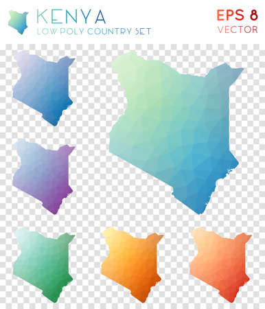 Kenya geometric polygonal maps, mosaic style country collection. Optimal low poly style, modern design. Kenya polygonal maps for infographics or presentation.  イラスト・ベクター素材