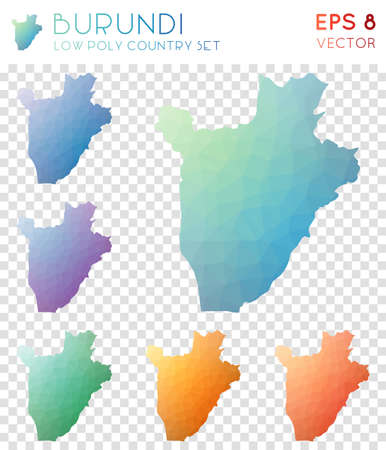 Burundi geometric polygonal maps, mosaic style country collection. Awesome low poly style, modern design. Burundi polygonal maps for infographics or presentation.