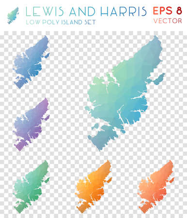 Lewis and Harris geometric polygonal maps, mosaic style island collection. Bewitching low poly style, modern design. Lewis and Harris polygonal maps for infographics or presentation.