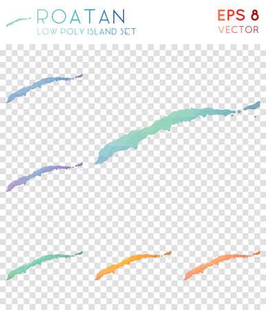 Roatan geometric polygonal maps, mosaic style island collection. Grand low poly style, modern design. Roatan polygonal maps for infographics or presentation. Illustration