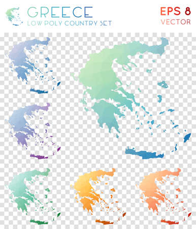 Greece geometric polygonal maps, mosaic style country collection. Immaculate low poly style, modern design. Greece polygonal maps for infographics or presentation.