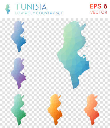 Tunisia geometric polygonal maps, mosaic style country collection. Emotional low poly style, modern design. Tunisia polygonal maps for infographics or presentation. Illustration