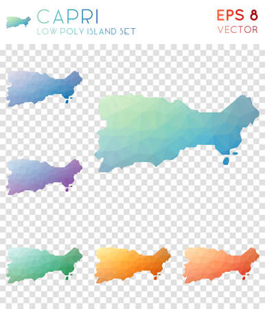 Capri geometric polygonal maps, mosaic style island collection. Lovely low poly style, modern design. Capri polygonal maps for infographics or presentation.