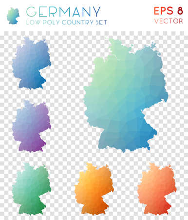 Germany geometric polygonal maps, mosaic style country collection. Exceptional low poly style, modern design. Germany polygonal maps for infographics or presentation.
